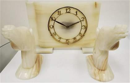 3pc Art Deco Onyx Clock Set