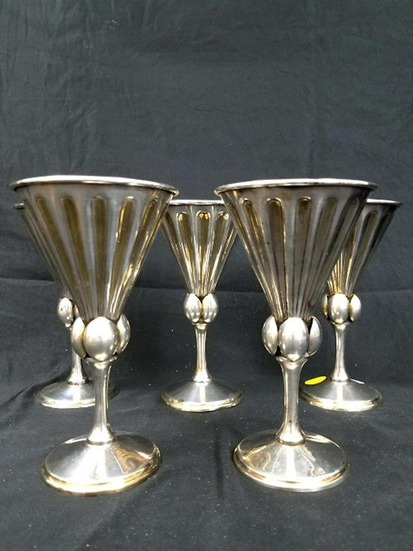Rare Set 5 Art Deco Style Sterling Silver Goblets.