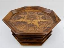 Judaica Rare Bezalel School Olive Wood Seder Plate