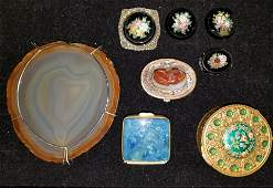 8 Piece lot of Hard Stone  Enameled items