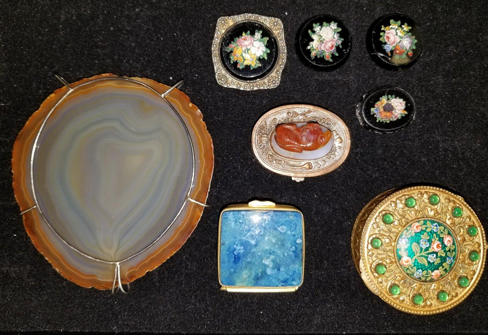 8 Piece lot of Hard Stone & Enameled items