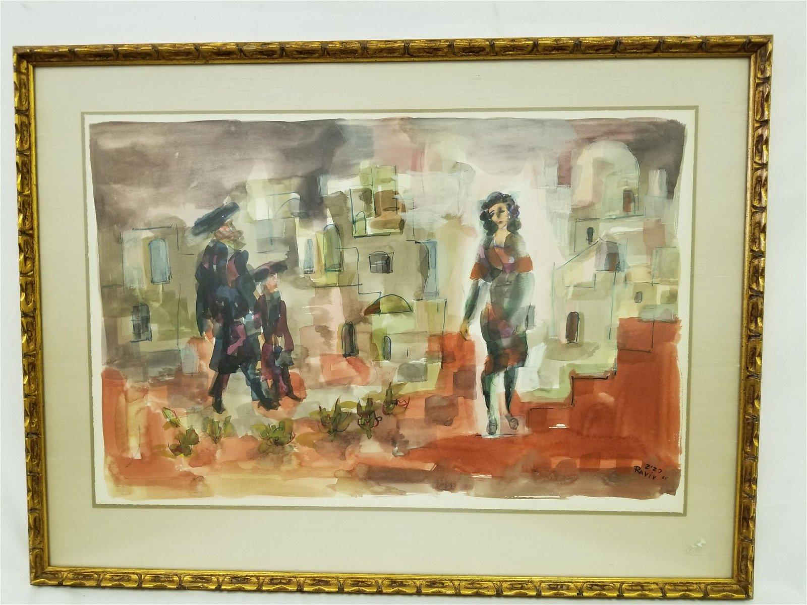 Painting Judaica Watercolor on Paper, Moshe Raviv