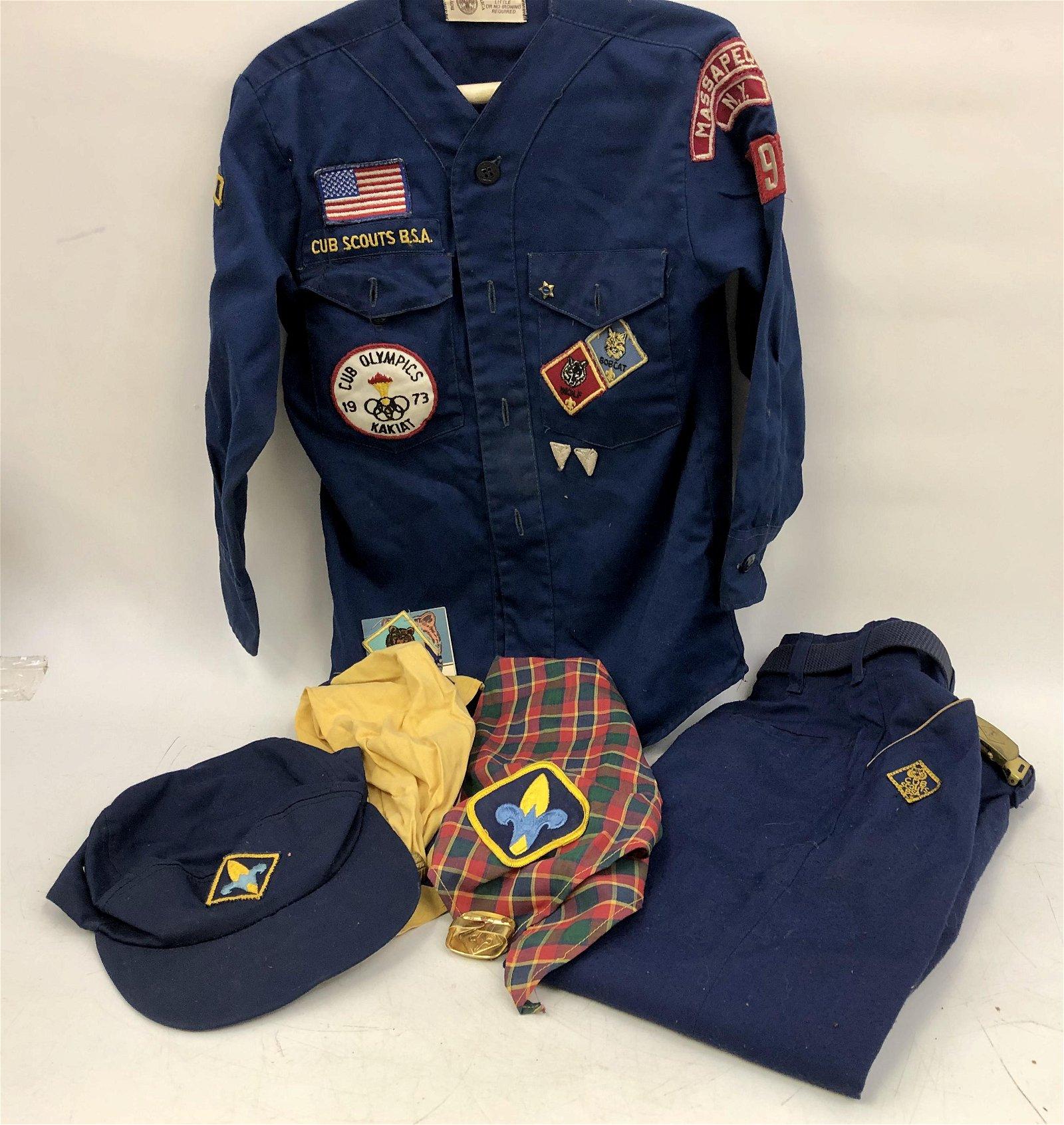 Lot of 7 Boy Scout Items, Shirt, Pants, Hat, Badge