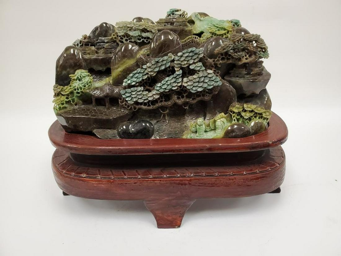 Chinese Unusual Carved Jade Boulder on Wooden Base