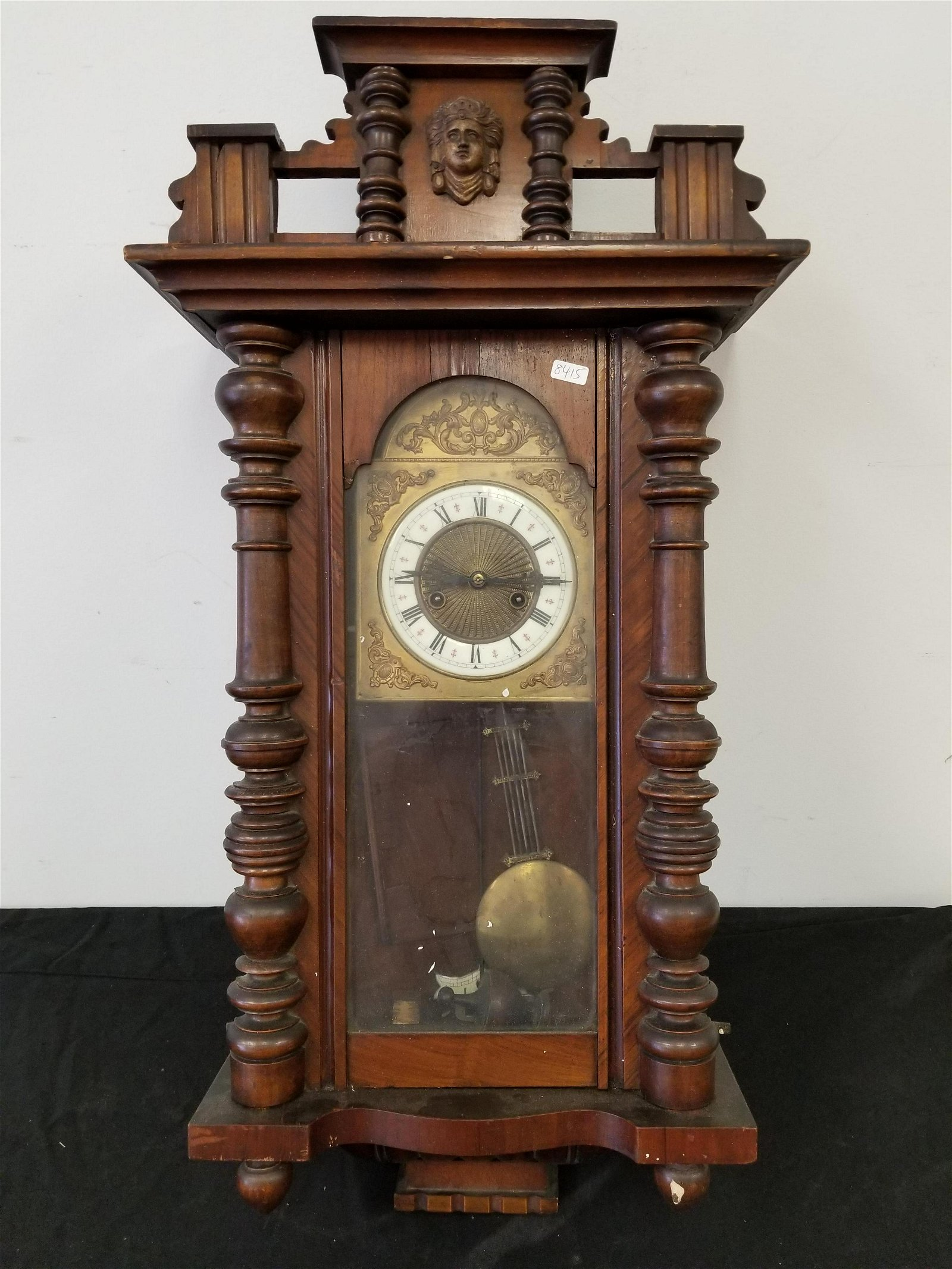 Antique Exceptional Wall Mounted Clock w/ Enamel