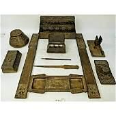 Tiffany Studios NY 11 Piece Bronze Desk Set