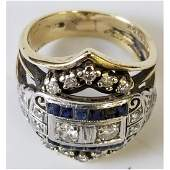 14K Gold Ring w/ Sapphires & Diamonds Ring