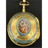 Antique 19th C 18K gold & Enameled Pocket Watch
