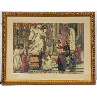 Large Painting Watercolor on Paper by F. Pinci.
