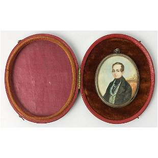 18thC Miniature Painting, Signed E.P in 800 Silver