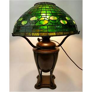 Tiffany Studios Table Lamp w/ Acorn Leaded Glass.