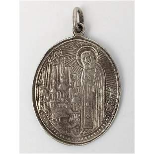 Russian Silver Pendant Virgin Mary & Apostles.