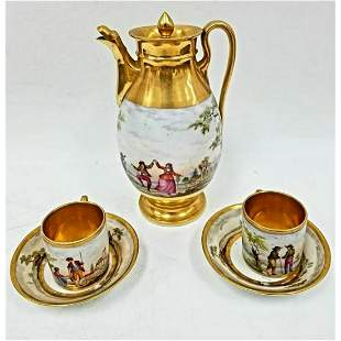 Antique Paris Porcelain Coffee Set.