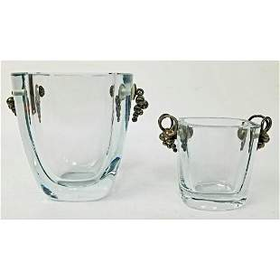 2 Vintage Danish Glass Vases with Silver Handles.