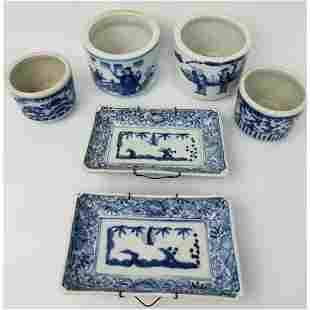 6 Antique Chinese Porcelain Blue & White Items.