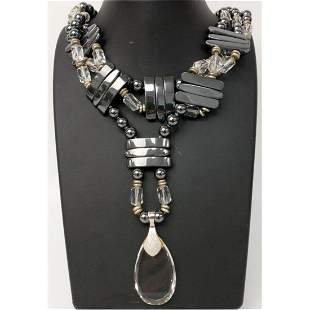 Hematite &Crystal Sterling Silver Mounted Necklace