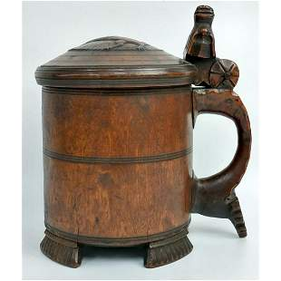 Antique 18th C Carved Wood Tankard.