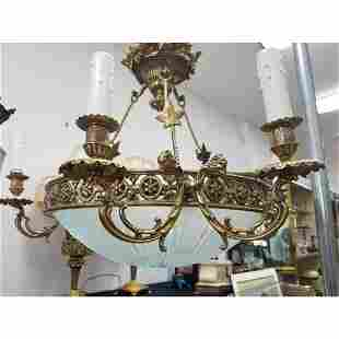 Fine Bronze and Cut Glass 6 Armed Chandelier