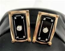 Exceptional Art Deco Pair 14K Rose Gold Cufflinks