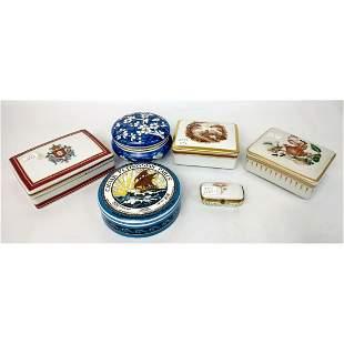 6 Porcelain Boxes Including Limoges & Mottahedeh