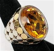 John Hardy 18K Gold & Sterling Silver Ring Citrine