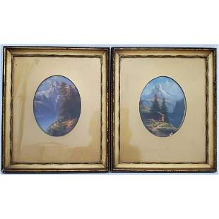 2 Antique Oval Paintings, Oil on Board. Swiss Alps