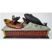 Antique Metal Mechanical Bank (Jonah and Whale)
