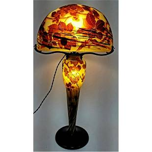 Large Rare Galle Cameo Glass Table Lamp c1900