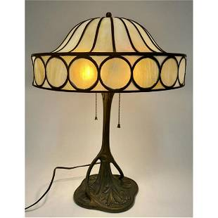 Antique American Stained Glass Bronze Table Lamp