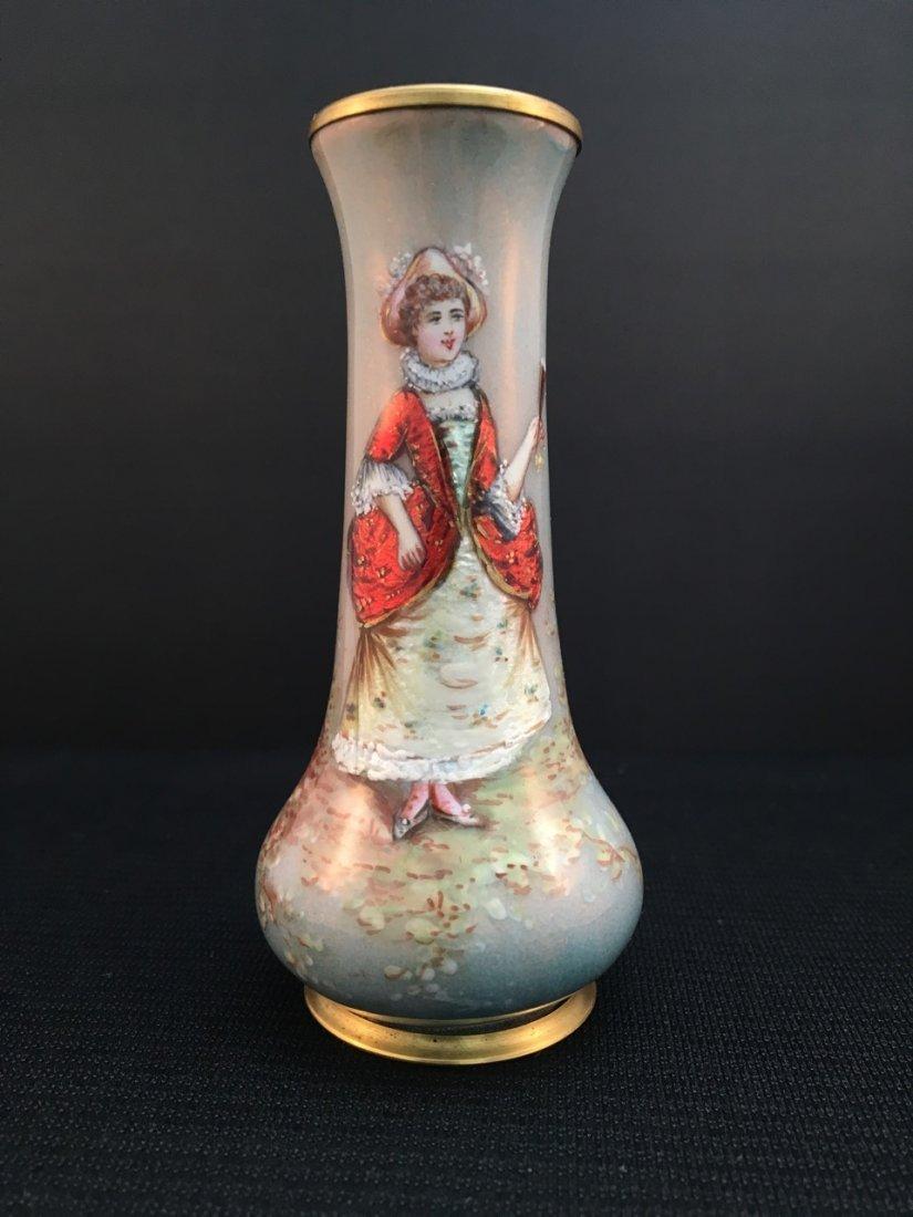French Limoges Enamel Vase