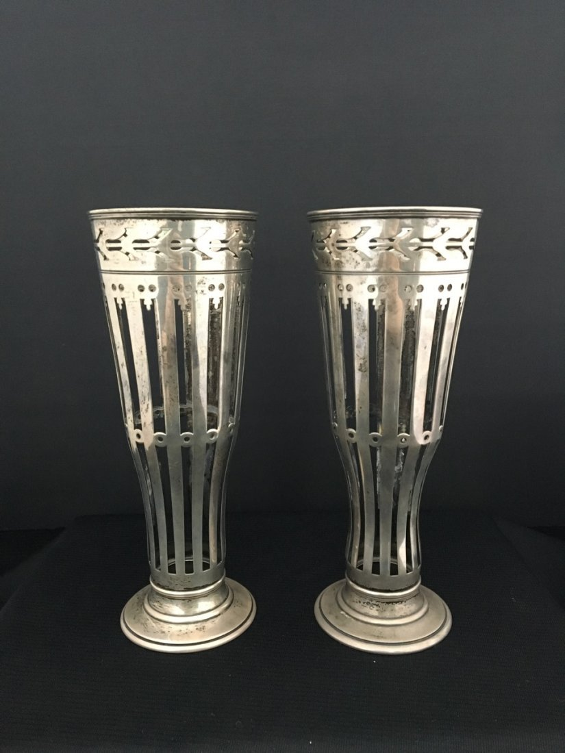 Pair of Tiffany & Co. Sterling Silver Vase Holders