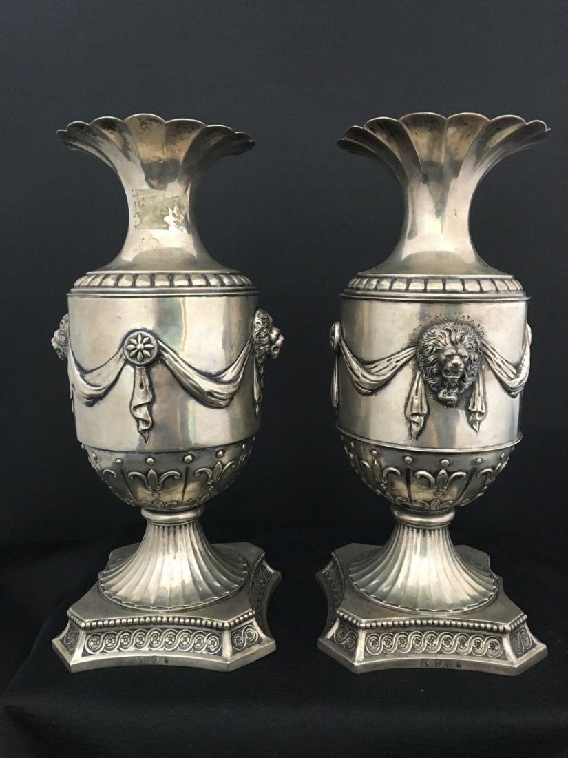 Continental Pair of 19th-Century Silver Vases