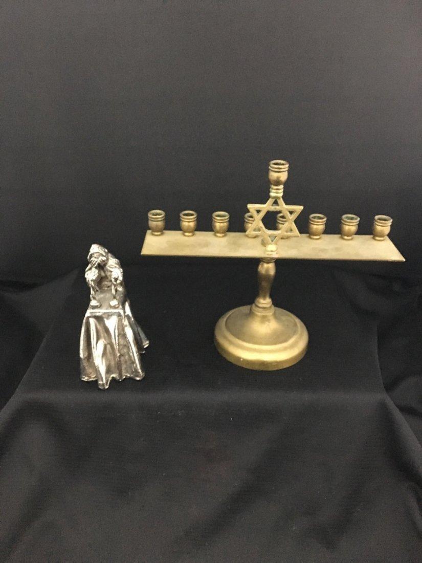 Silver Clad Woman Figurine and Copper Menorah