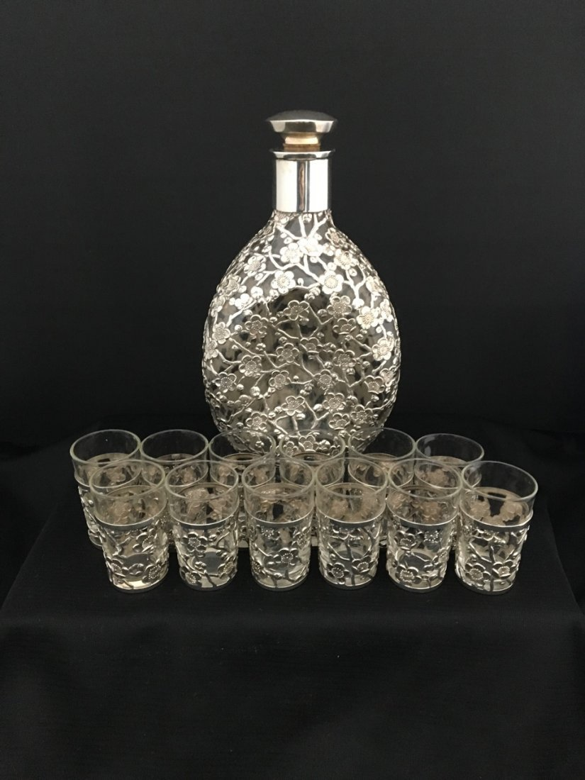 Chinese & Japanese Sterling Silver Mounted Drink Set