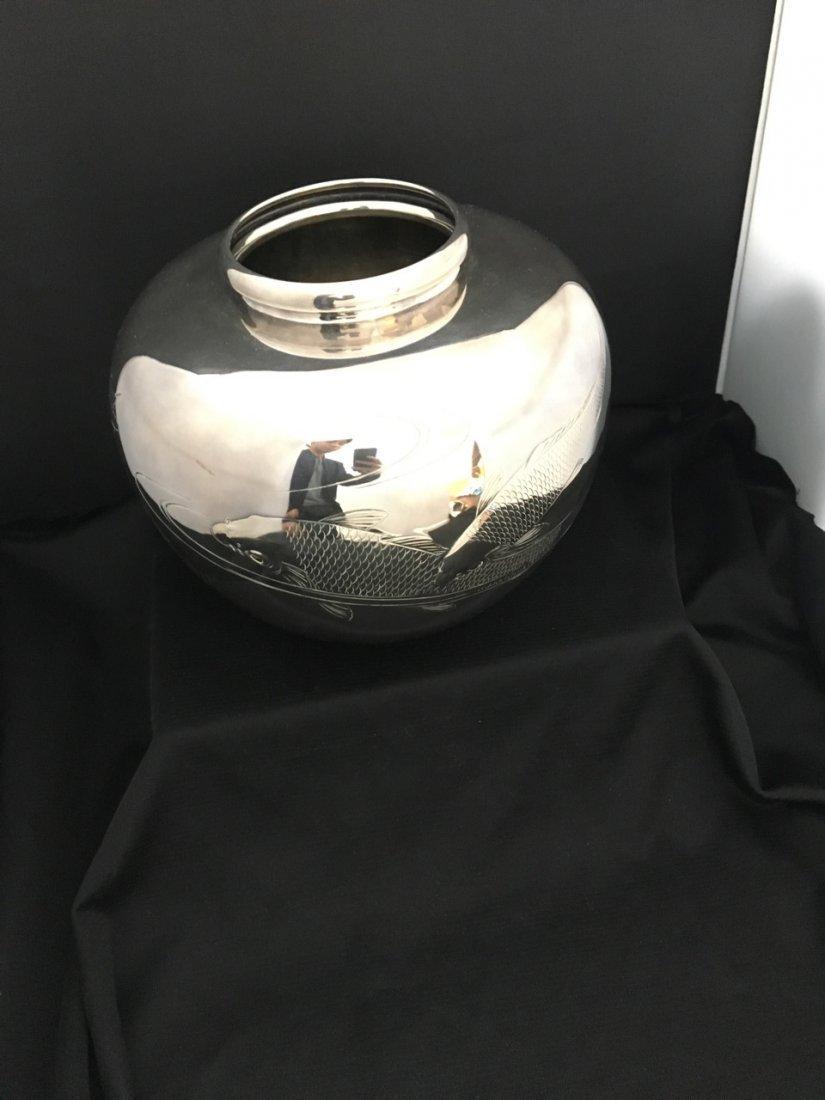 Large Japanese Pure Silver Vase