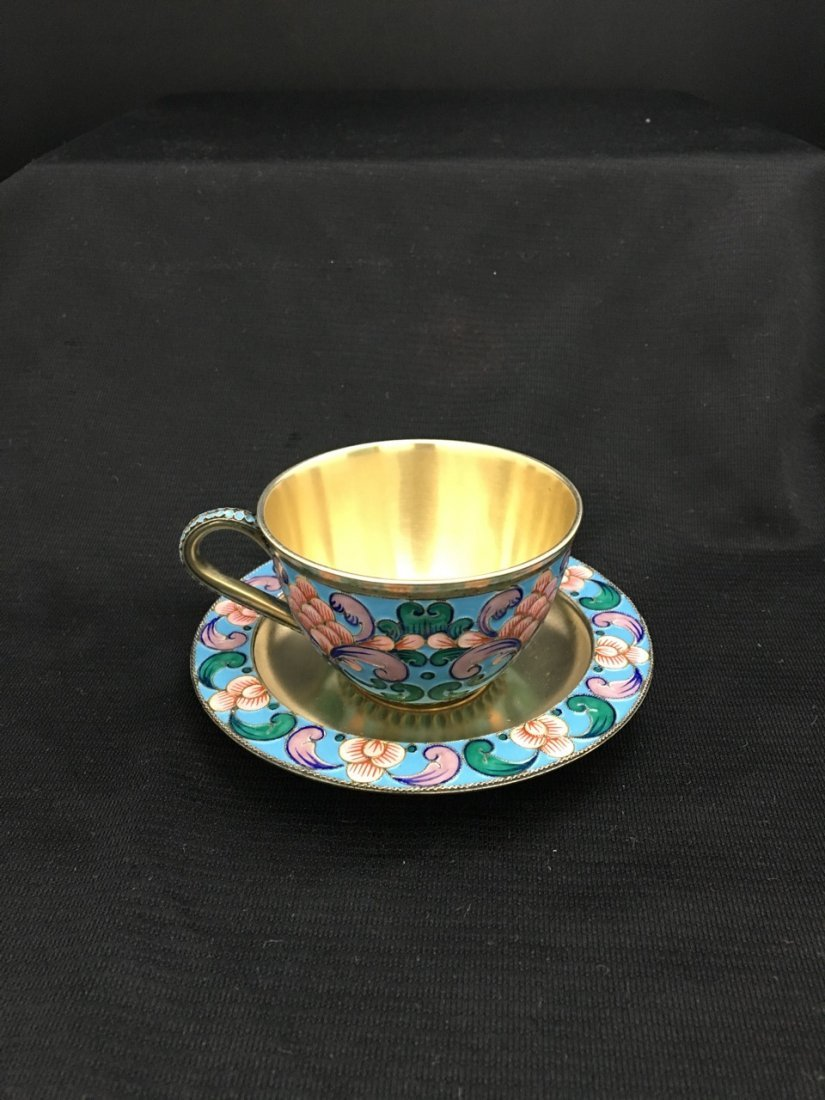 Russian Gilded and Enameled Cup and Saucer