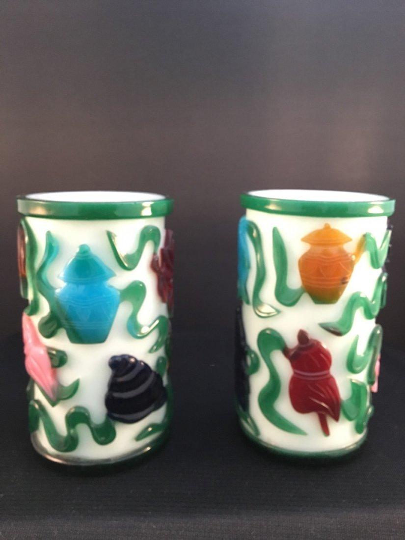Chinese Peking Pair 19th-Century Cameo Glass Vases