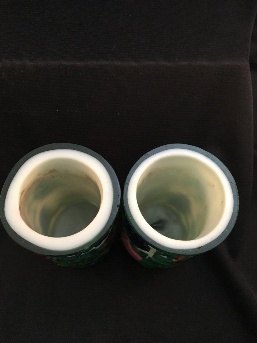 Chinese Peking Pair 19th-Century Cameo Glass Vases - 4