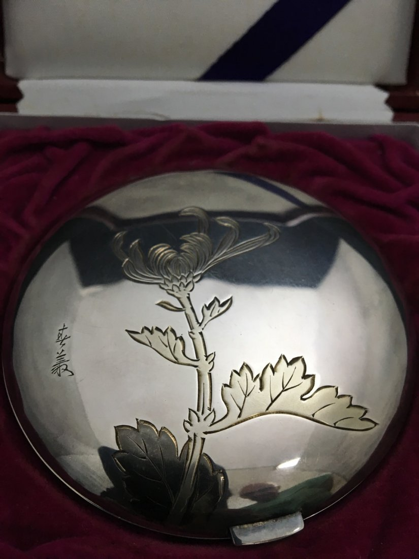 Japanese Silver Round Compact - 3
