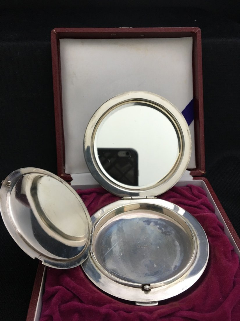 Japanese Silver Round Compact - 4