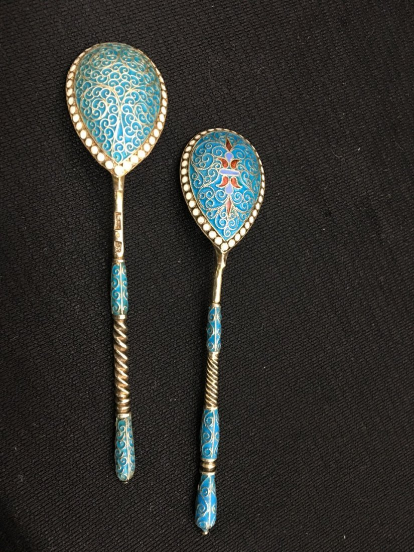 Russian Silver and Enamel Spoons - 2