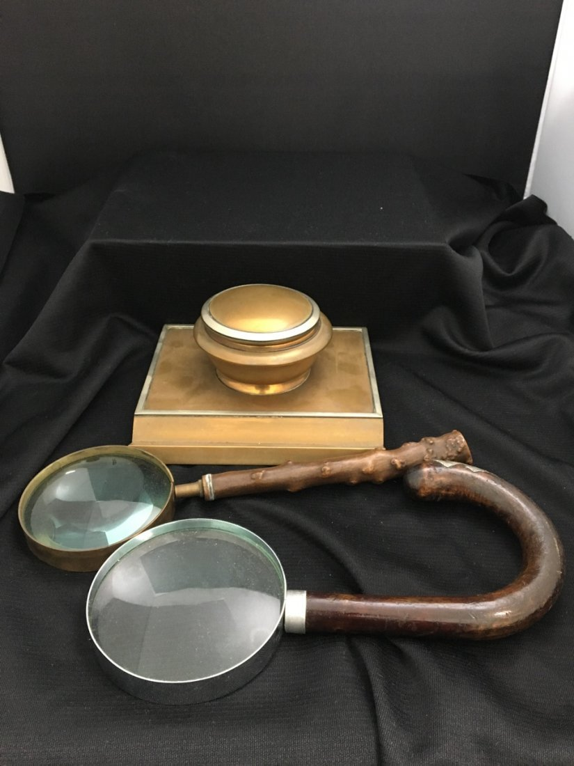 Brass and Sterling Inkwell & Magnifying Glasses