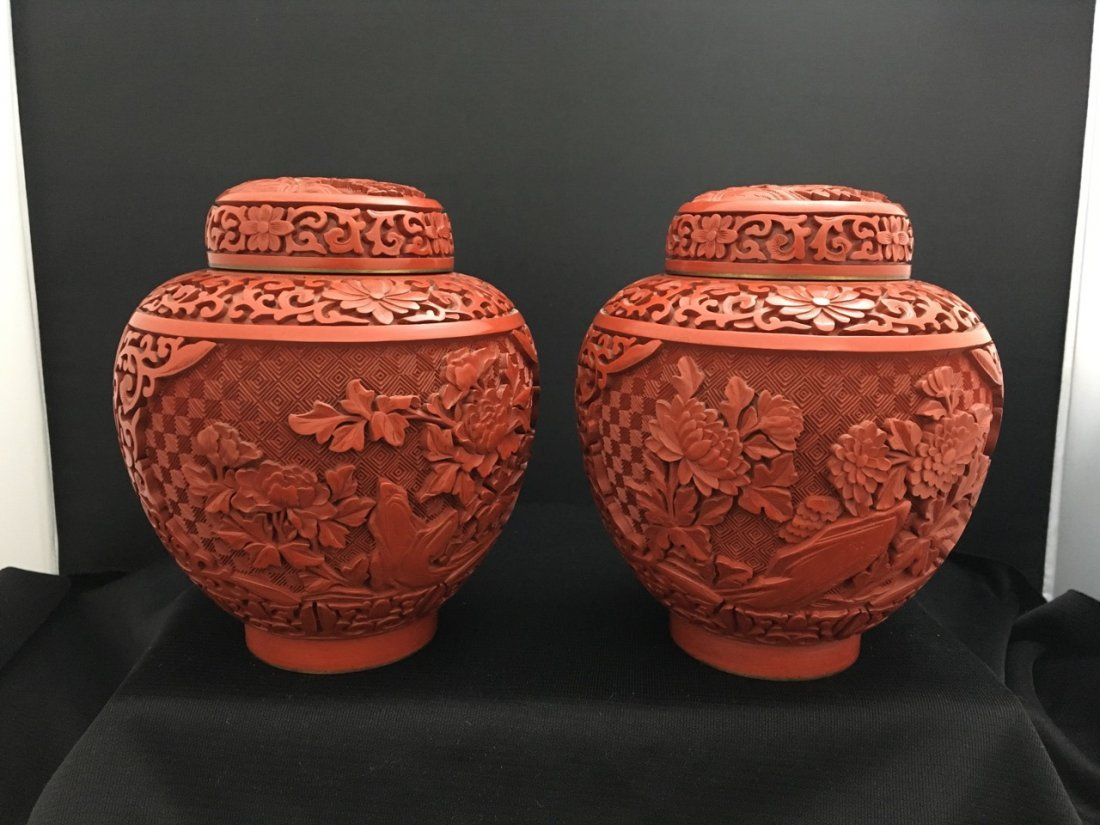 Pair of Chinese Cinnabar Covered Boxes