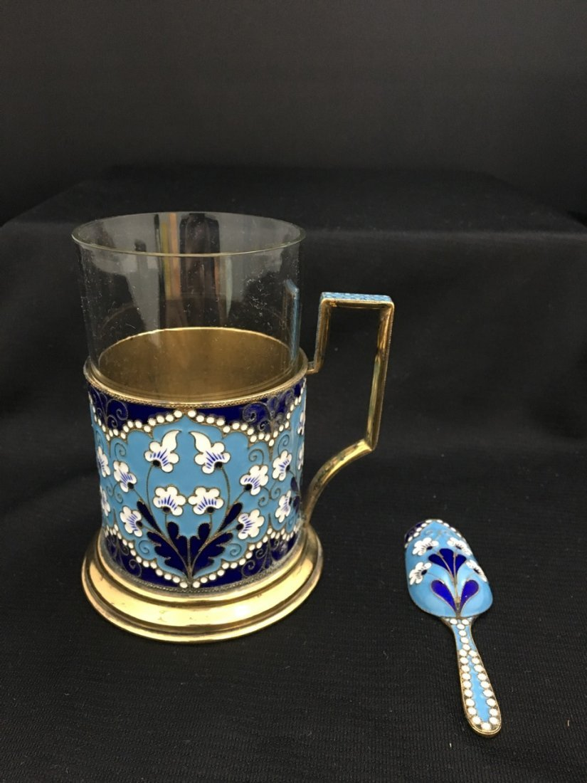 Russian Gilded Silver and Enameled Teaset