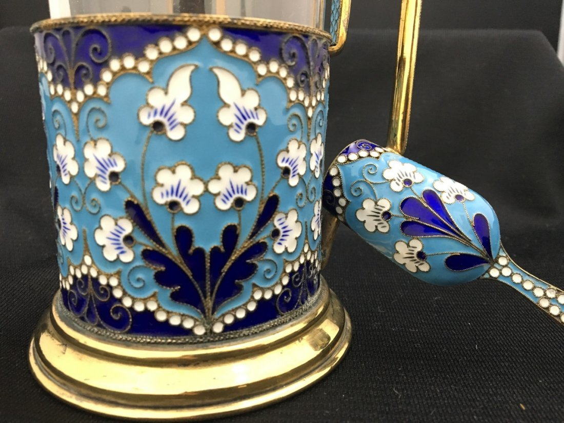 Russian Gilded Silver and Enameled Teaset - 3