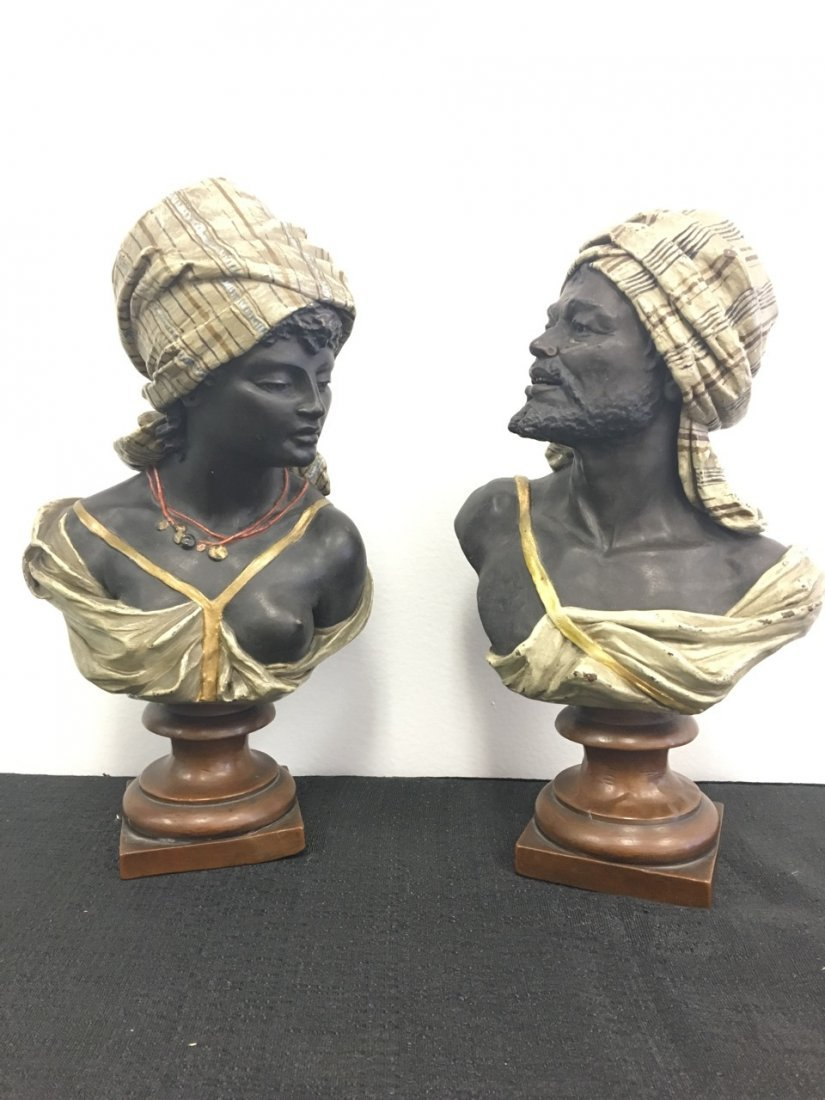 Pair of Bronze-Clad Oriental Subject (Arabic) Busts