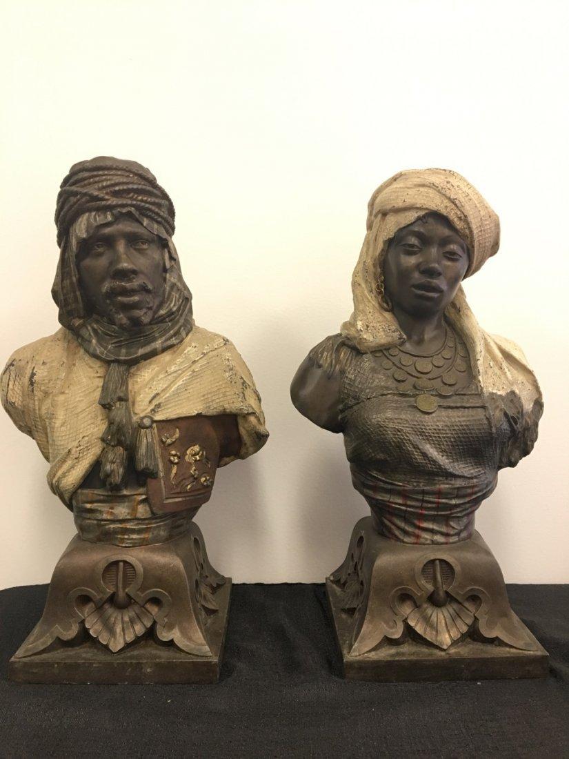 Pair of Metal Oriental Subject (Arabic) Busts