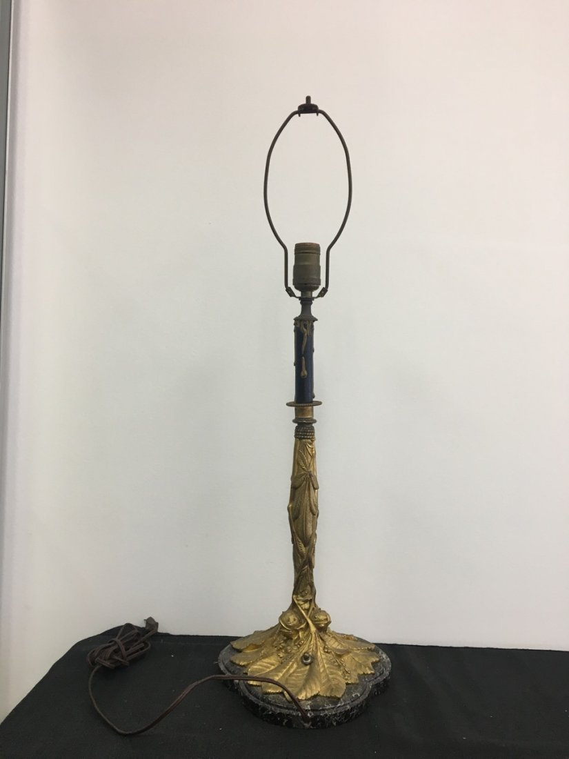 Bronze and Marble Candelabra Made into Lamp