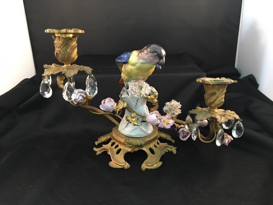 Pair of 19th-Century Meissen-Quality Parrot Candelabras - 2