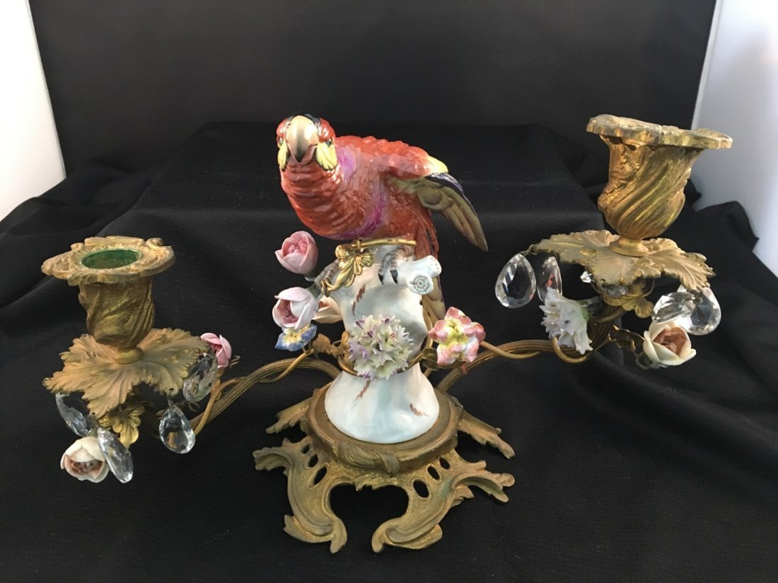 Pair of 19th-Century Meissen-Quality Parrot Candelabras - 3